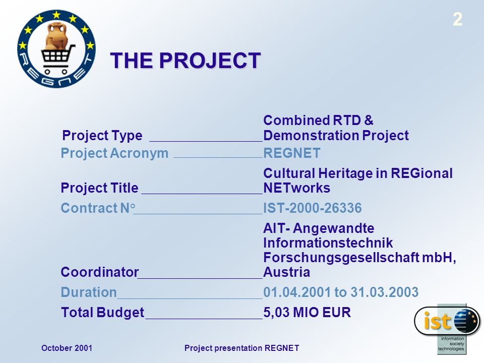 October 2001Project presentation REGNET 2 THE PROJECT Combined RTD & Project Type Demonstration Project Project AcronymREGNET Cultural Heritage in REG