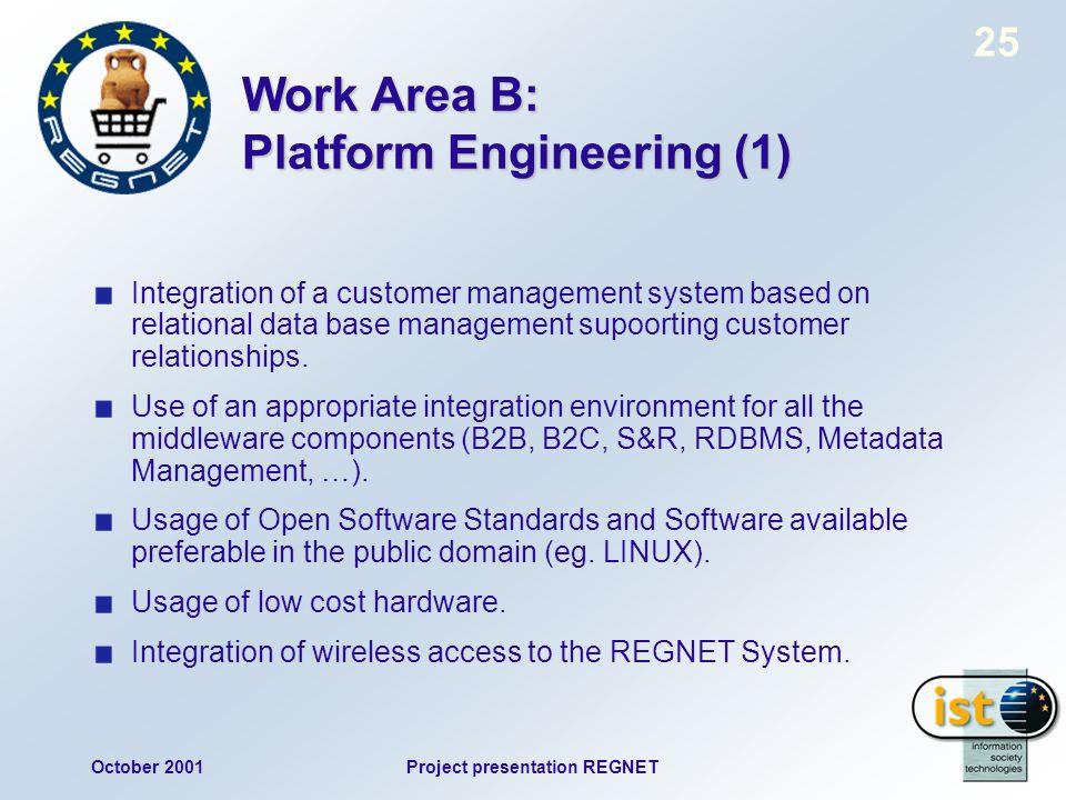 October 2001Project presentation REGNET 25 Work Area B: Platform Engineering (1) Integration of a customer management system based on relational data base management supoorting customer relationships.