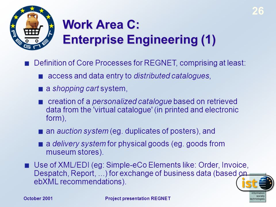 October 2001Project presentation REGNET 26 Work Area C: Enterprise Engineering (1) Definition of Core Processes for REGNET, comprising at least: acces