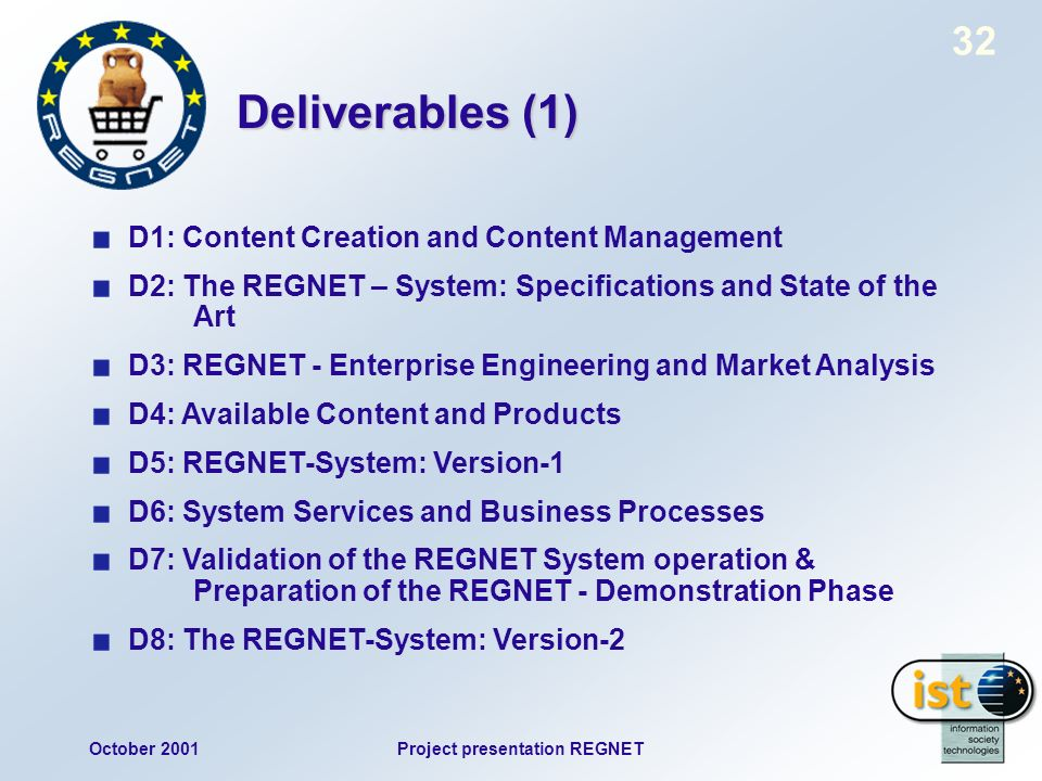 October 2001Project presentation REGNET 32 Deliverables (1) D1: Content Creation and Content Management D2: The REGNET – System: Specifications and St