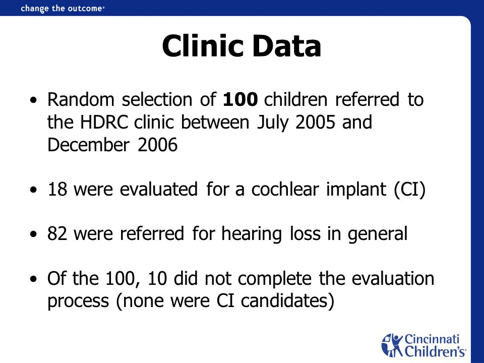 Clinic Data Random selection of 100 children referred to the HDRC clinic between July 2005 and December 2006 18 were evaluated for a cochlear implant