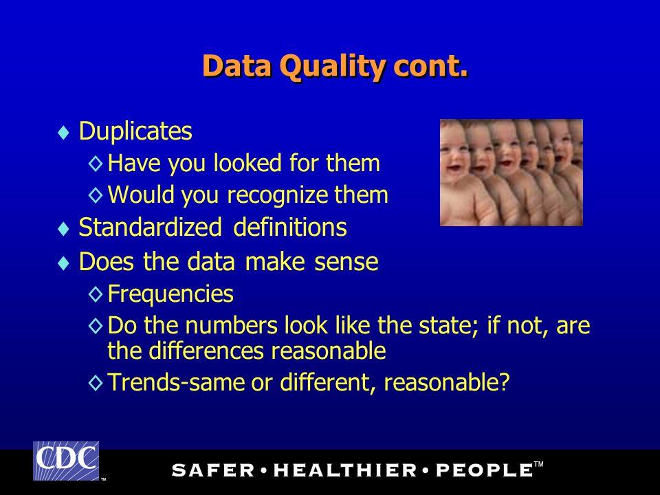 TM Data Quality cont.