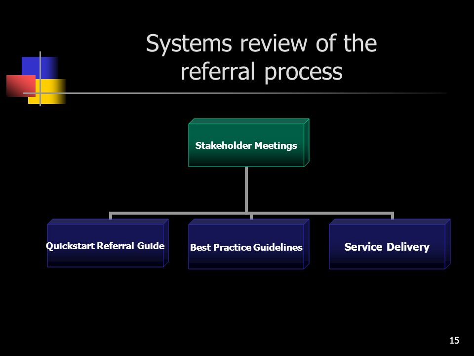 15 Systems review of the referral process Stakeholder Meetings Quickstart Referral Guide Best Practice Guidelines Service Delivery