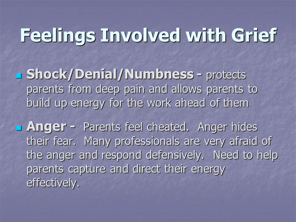 Feelings Involved with Grief Shock/Denial/Numbness - protects parents from deep pain and allows parents to build up energy for the work ahead of them