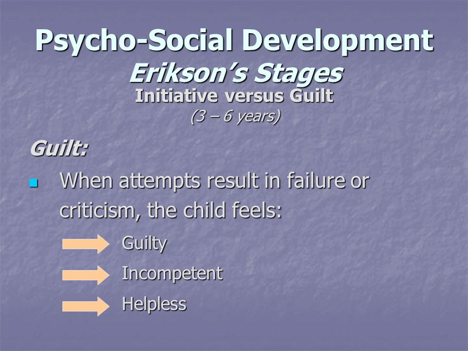 Psycho-Social Development Eriksons Stages Initiative versus Guilt (3 – 6 years) Guilt: When attempts result in failure or criticism, the child feels: