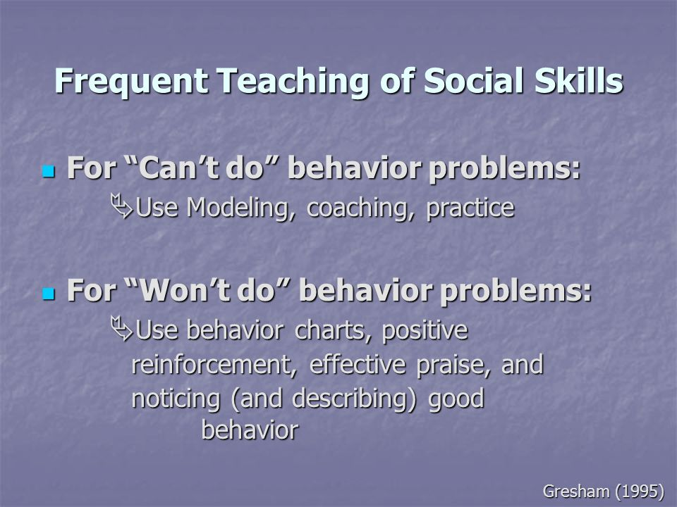 Frequent Teaching of Social Skills For Cant do behavior problems: Use Modeling, coaching, practice For Cant do behavior problems: Use Modeling, coachi
