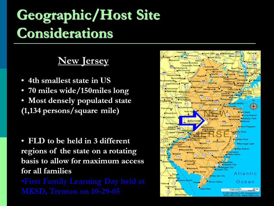Geographic/Host Site Considerations New Jersey 4th smallest state in US 70 miles wide/150miles long Most densely populated state (1,134 persons/square mile) FLD to be held in 3 different regions of the state on a rotating basis to allow for maximum access for all families First Family Learning Day held at MKSD, Trenton on 10-29-05