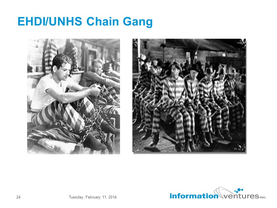 Tuesday, February 11, 201424 EHDI/UNHS Chain Gang