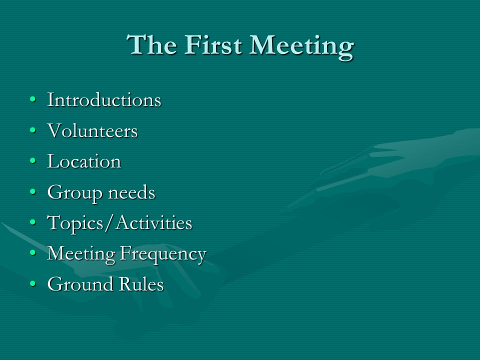 The First Meeting IntroductionsIntroductions VolunteersVolunteers LocationLocation Group needsGroup needs Topics/ActivitiesTopics/Activities Meeting F