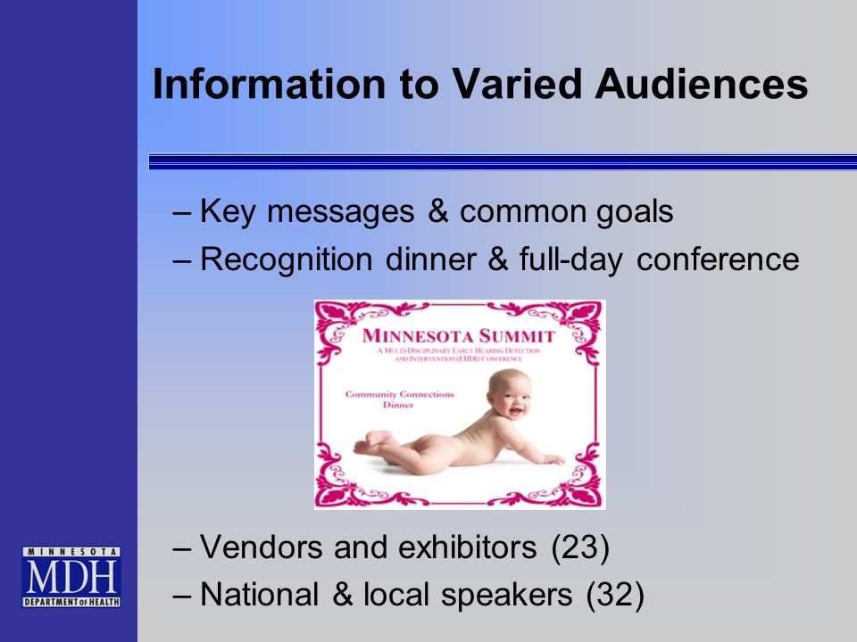 Information to Varied Audiences –Key messages & common goals –Recognition dinner & full-day conference –Vendors and exhibitors (23) –National & local speakers (32)