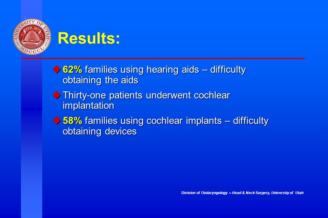 Division of Otolaryngology ~ Head & Neck Surgery, University of Utah Results: 62% families using hearing aids – difficulty obtaining the aids 62% fami