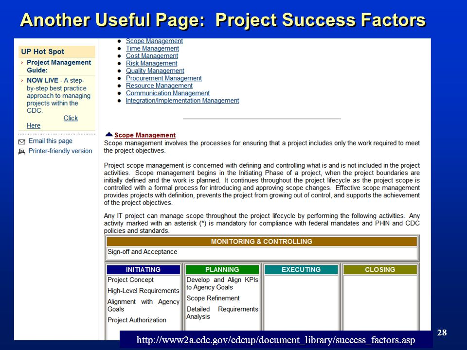 TM 28 Another Useful Page: Project Success Factors http://www2a.cdc.gov/cdcup/document_library/success_factors.asp