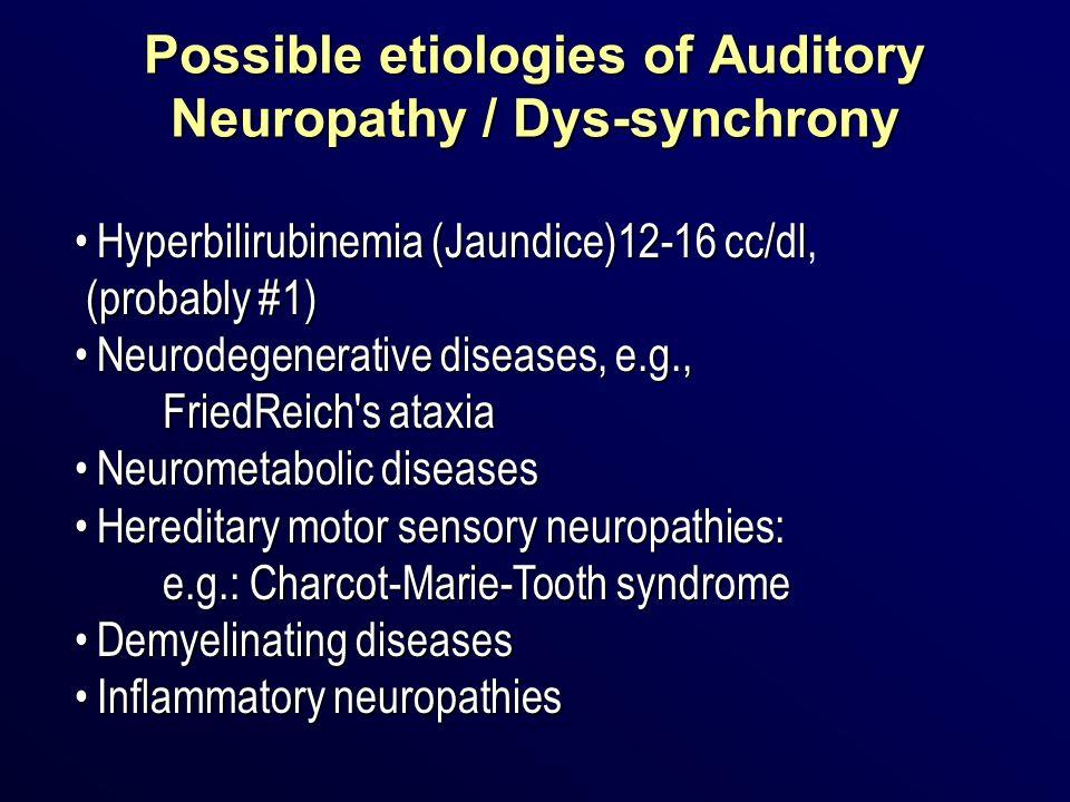 Possible etiologies of Auditory Neuropathy / Dys-synchrony Hyperbilirubinemia (Jaundice)12-16 cc/dlHyperbilirubinemia (Jaundice)12-16 cc/dl, (probably