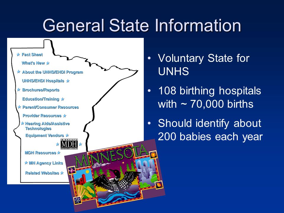 General State Information Voluntary State for UNHS 108 birthing hospitals with ~ 70,000 births Should identify about 200 babies each year