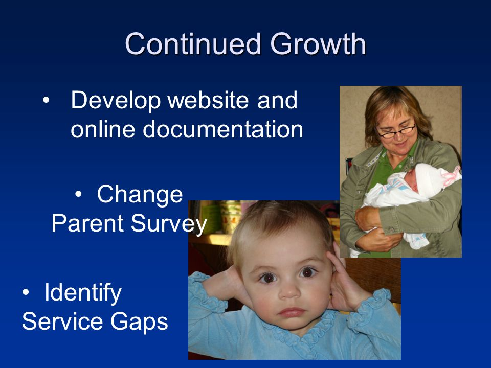Continued Growth Develop website and online documentation Change Parent Survey Identify Service Gaps