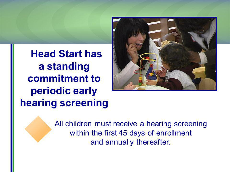 All children must receive a hearing screening within the first 45 days of enrollment and annually thereafter.