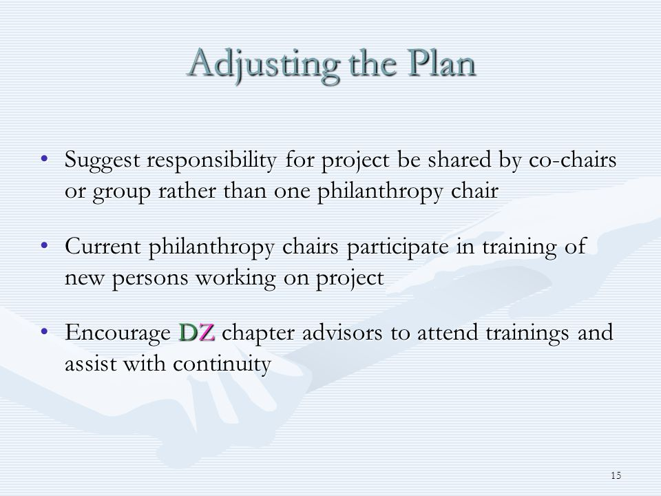 15 Adjusting the Plan Suggest responsibility for project be shared by co-chairs or group rather than one philanthropy chairSuggest responsibility for project be shared by co-chairs or group rather than one philanthropy chair Current philanthropy chairs participate in training of new persons working on projectCurrent philanthropy chairs participate in training of new persons working on project Encourage DZ chapter advisors to attend trainings and assist with continuityEncourage DZ chapter advisors to attend trainings and assist with continuity
