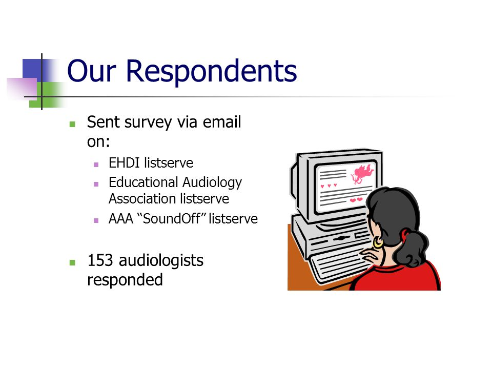 Our Respondents Sent survey via email on: EHDI listserve Educational Audiology Association listserve AAA SoundOff listserve 153 audiologists responded