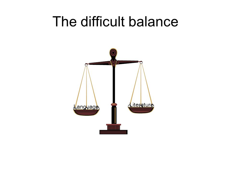 The difficult balance Language Literature