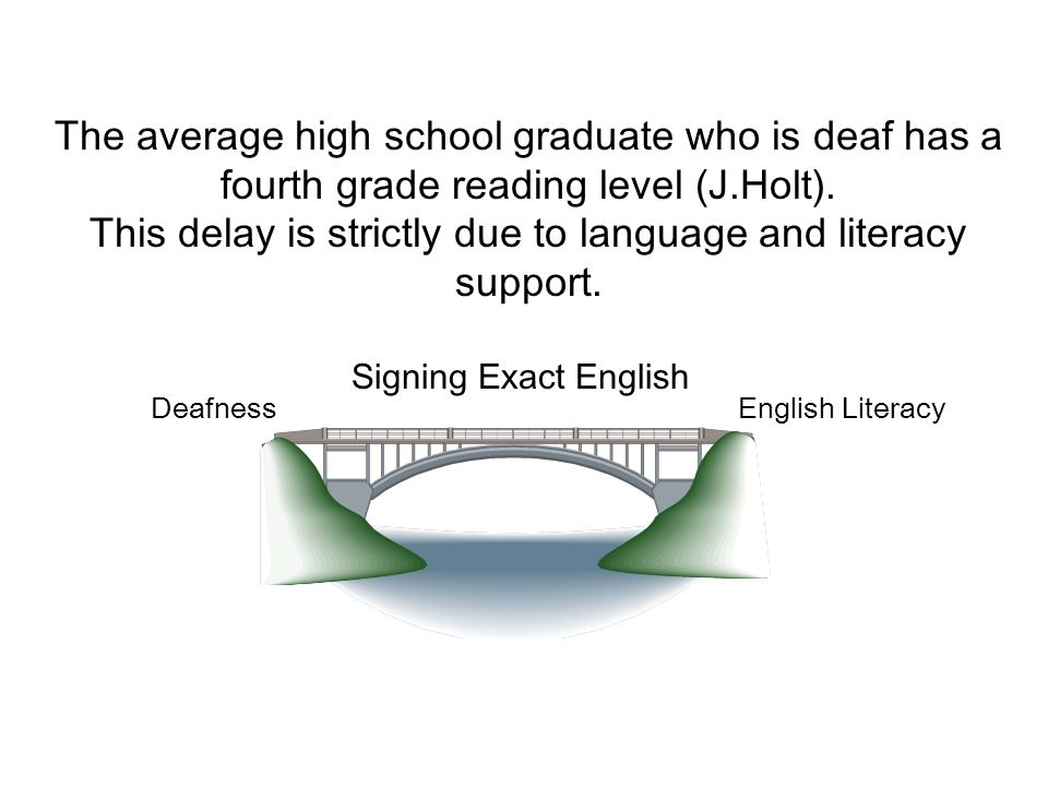 The average high school graduate who is deaf has a fourth grade reading level (J.Holt).