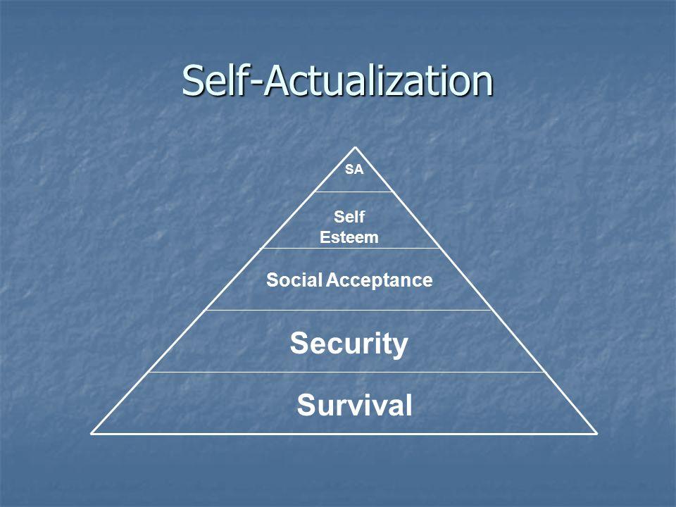 Self-Actualization Survival Security Social Acceptance Self Esteem SA