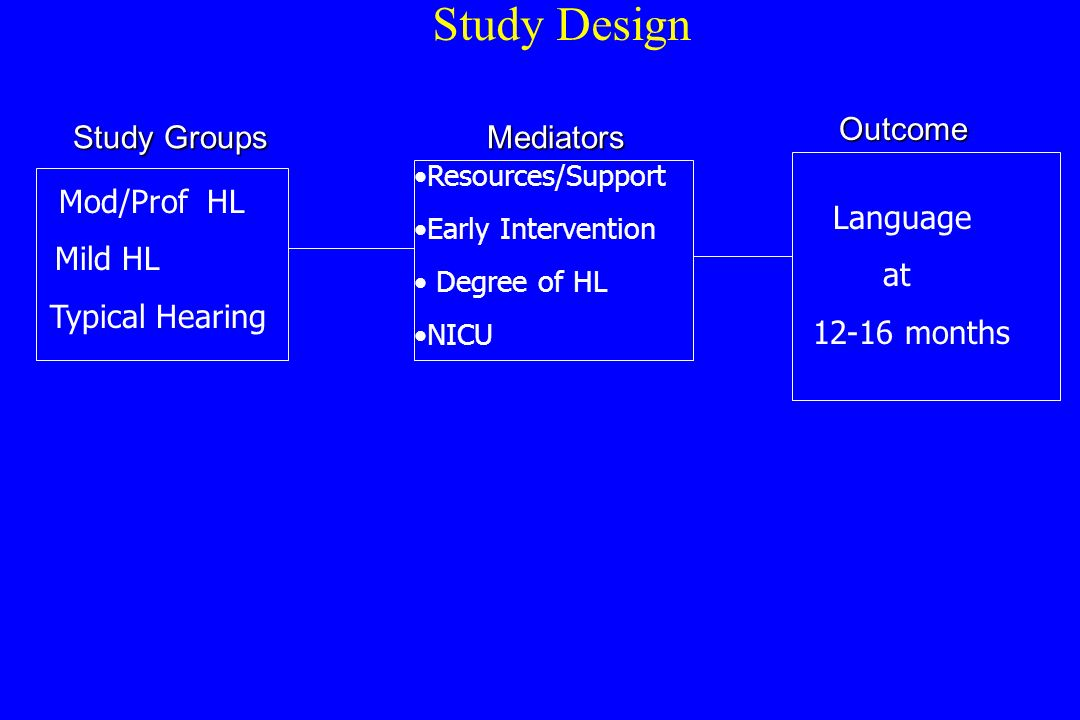 Study Design Resources/Support Early Intervention Degree of HL NICU Language at 12-16 months Mod/Prof HL Mild HL Typical Hearing Study Groups Mediators Outcome Outcome