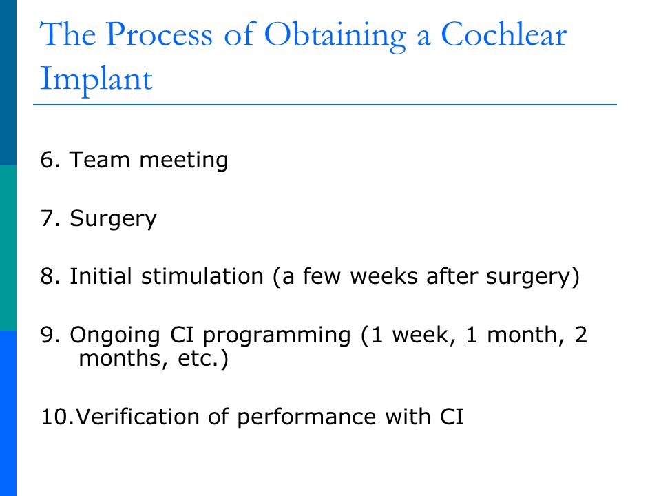 The Process of Obtaining a Cochlear Implant 6. Team meeting 7.