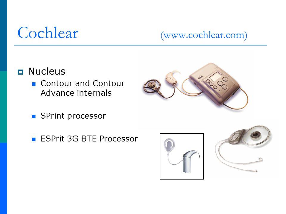 Cochlear (www.cochlear.com) Nucleus Contour and Contour Advance internals SPrint processor ESPrit 3G BTE Processor