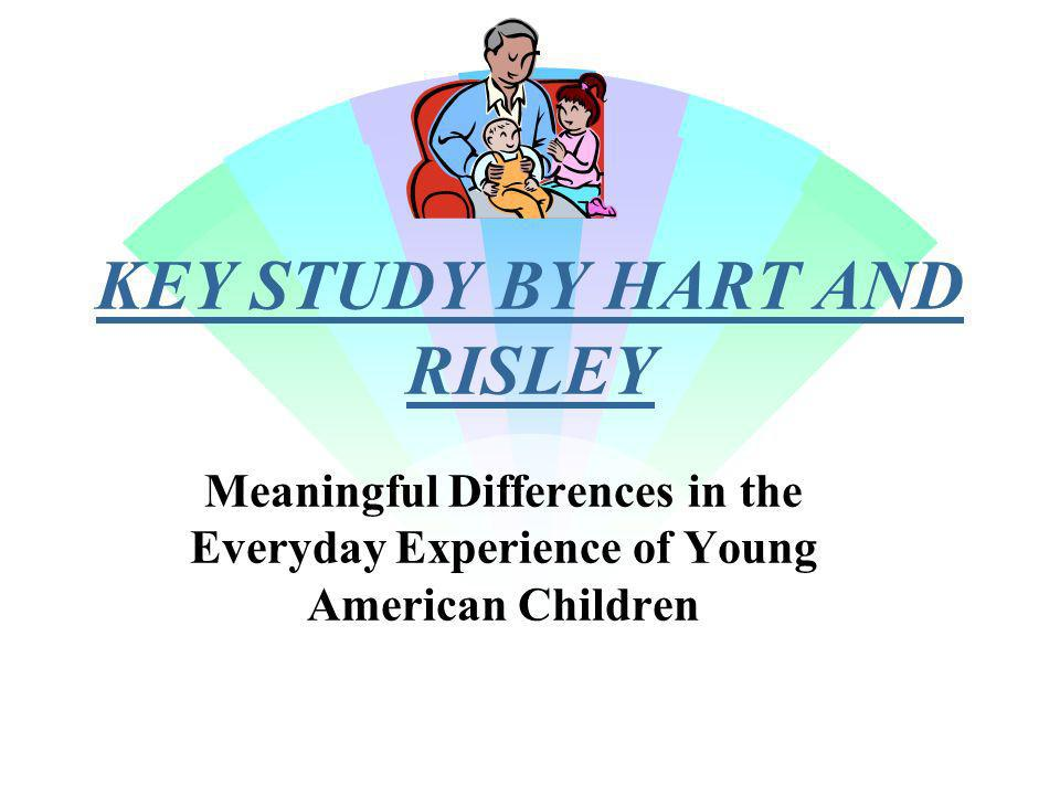 KEY STUDY BY HART AND RISLEY Meaningful Differences in the Everyday Experience of Young American Children