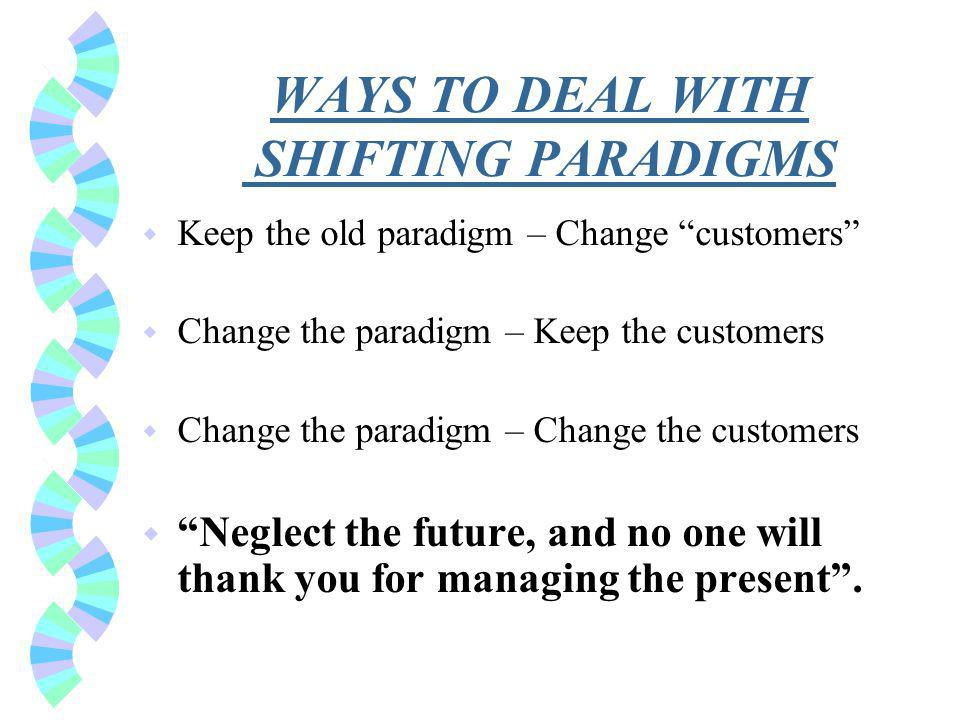 WAYS TO DEAL WITH SHIFTING PARADIGMS w Keep the old paradigm – Change customers w Change the paradigm – Keep the customers w Change the paradigm – Change the customers w Neglect the future, and no one will thank you for managing the present.