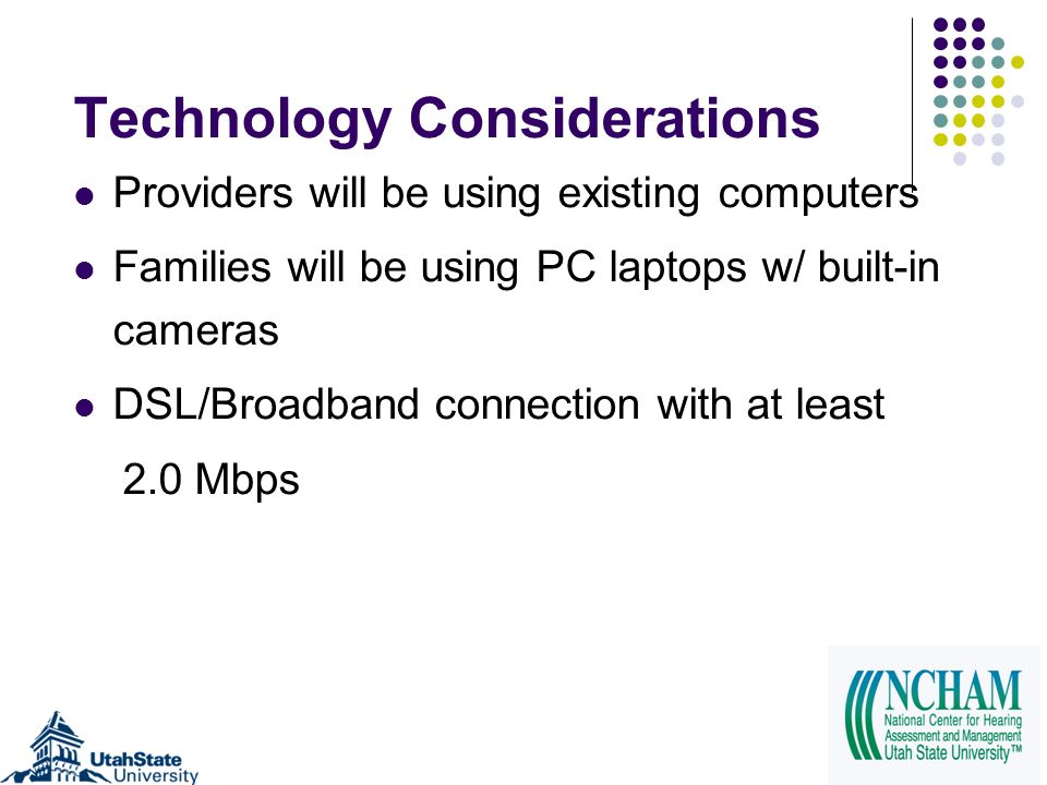 Technology Considerations Providers will be using existing computers Families will be using PC laptops w/ built-in cameras DSL/Broadband connection wi