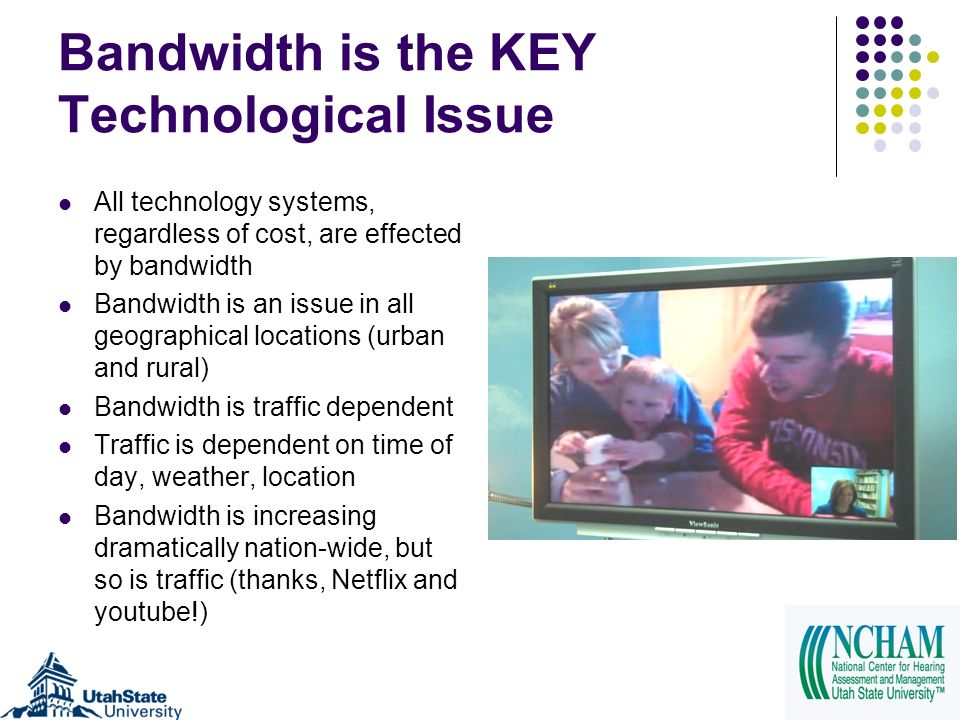 Bandwidth is the KEY Technological Issue All technology systems, regardless of cost, are effected by bandwidth Bandwidth is an issue in all geographic