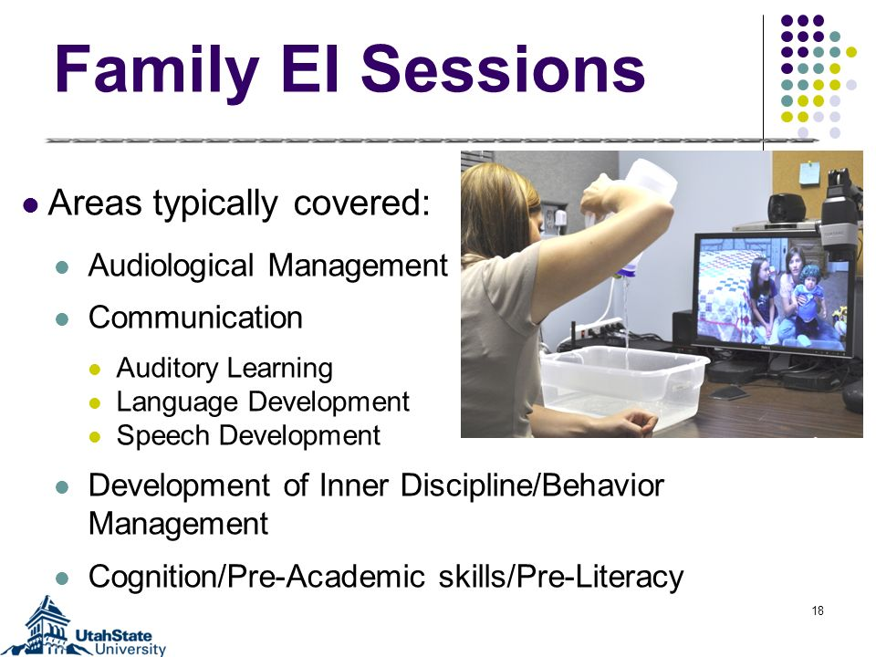 Family EI Sessions Areas typically covered: Audiological Management Communication Auditory Learning Language Development Speech Development Development of Inner Discipline/Behavior Management Cognition/Pre-Academic skills/Pre-Literacy 18