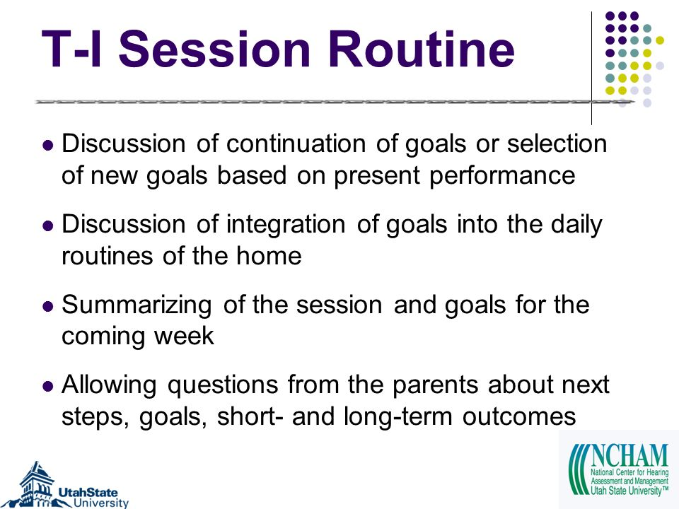 T-I Session Routine Discussion of continuation of goals or selection of new goals based on present performance Discussion of integration of goals into the daily routines of the home Summarizing of the session and goals for the coming week Allowing questions from the parents about next steps, goals, short- and long-term outcomes