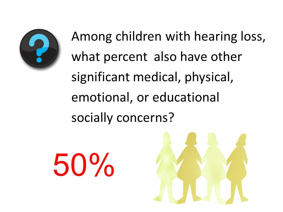 Among children with hearing loss, what percent also have other significant medical, physical, emotional, or educational socially concerns? 50%