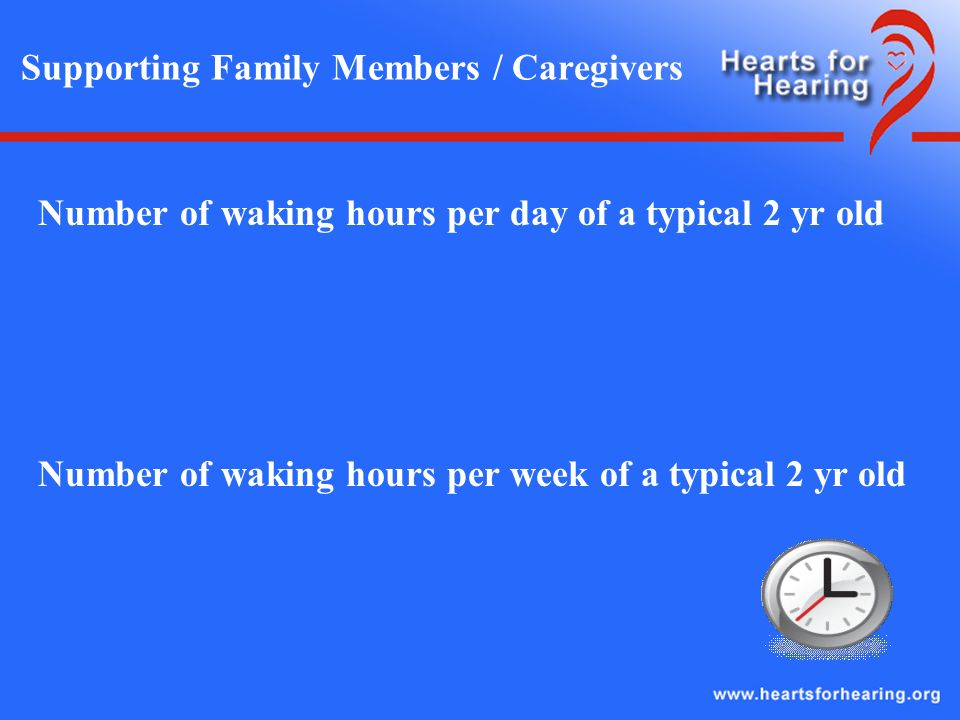 Supporting Family Members / Caregivers Number of waking hours per day of a typical 2 yr old Number of waking hours per week of a typical 2 yr old