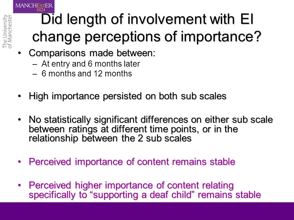 Did length of involvement with EI change perceptions of importance? Comparisons made between:Comparisons made between: –At entry and 6 months later –6