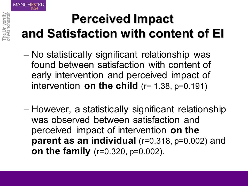 Perceived Impact and Satisfaction with content of EI –No statistically significant relationship was found between satisfaction with content of early i