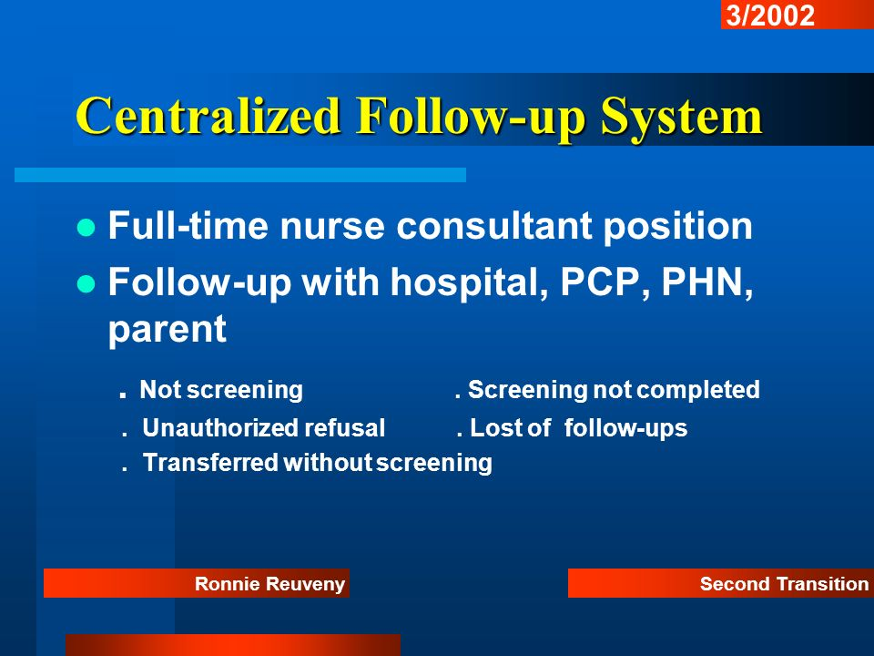 Centralized Follow-up System Full-time nurse consultant position Follow-up with hospital, PCP, PHN, parent. Not screening. Screening not completed. Un