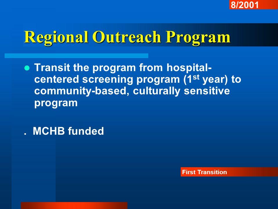Regional Outreach Program Transit the program from hospital- centered screening program (1 st year) to community-based, culturally sensitive program.