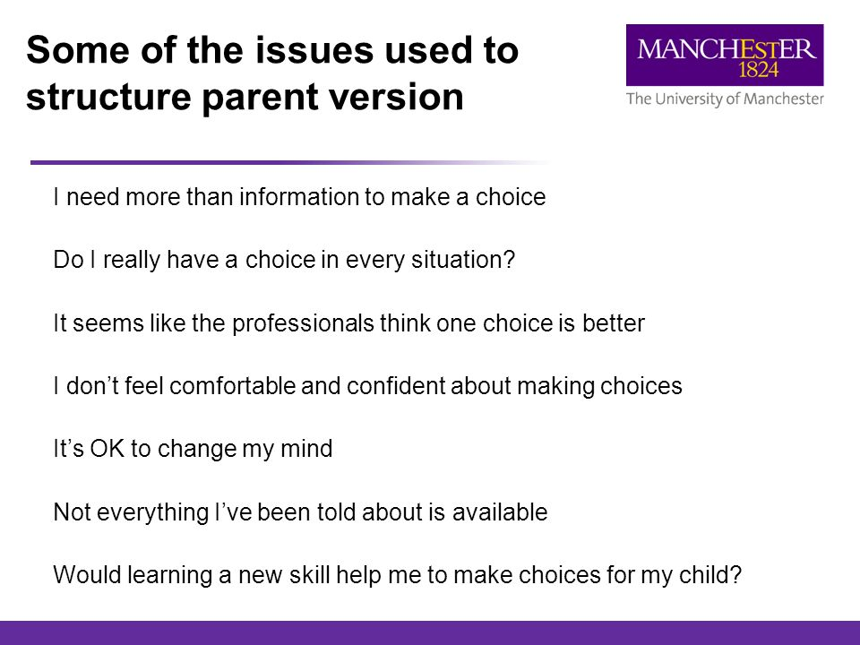 Some of the issues used to structure parent version I need more than information to make a choice Do I really have a choice in every situation.