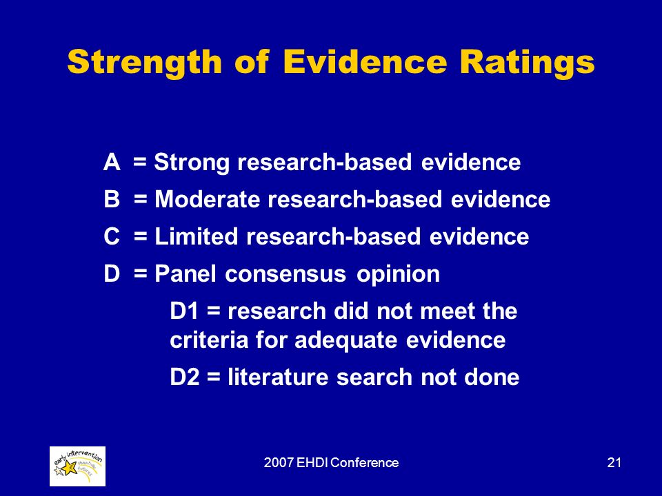 2007 EHDI Conference21 Strength of Evidence Ratings A = Strong research-based evidence B = Moderate research-based evidence C = Limited research-based evidence D = Panel consensus opinion D1 = research did not meet the criteria for adequate evidence D2 = literature search not done