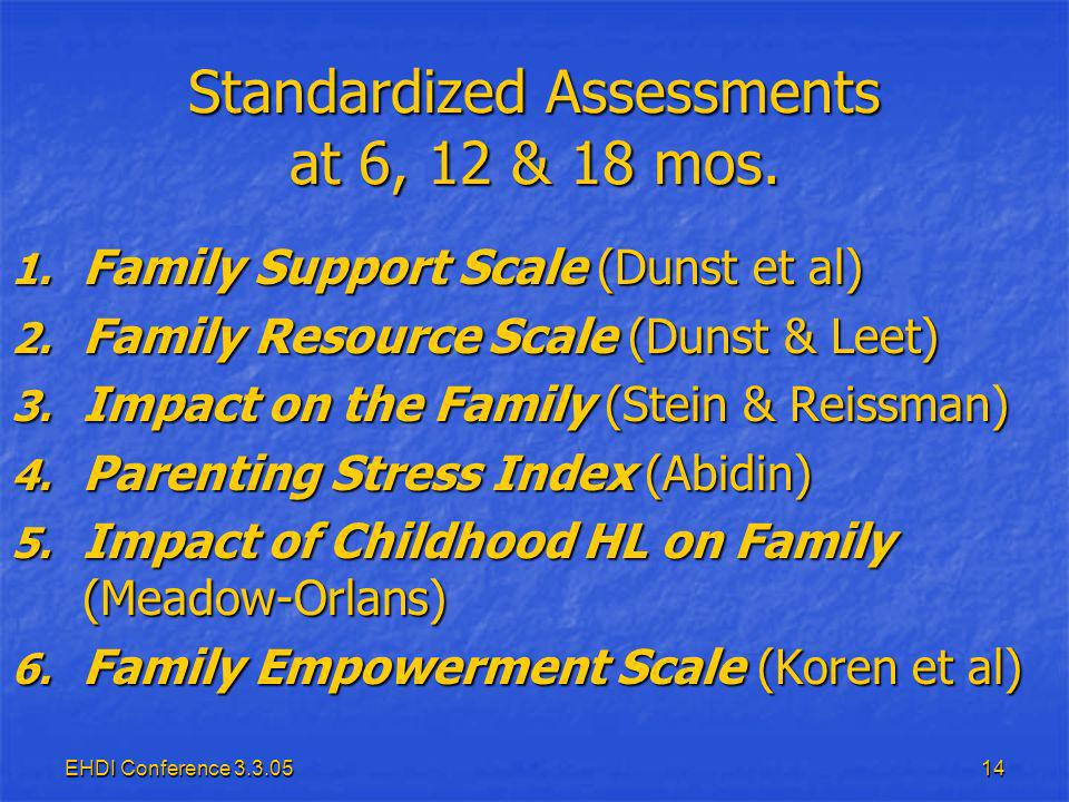 EHDI Conference Standardized Assessments at 6, 12 & 18 mos.