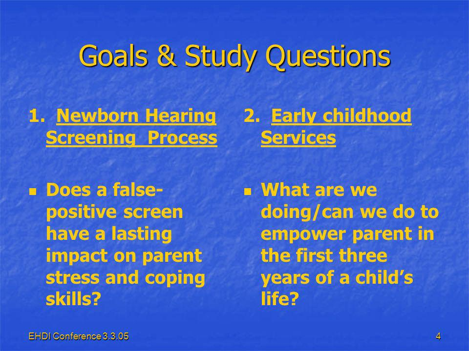 EHDI Conference 3.3.0525 Parenting Stress Index Short form – 36 questions Short form – 36 questions Likert Scale 1 to 5 Likert Scale 1 to 5 Strongly Agree to Strongly Disagree Strongly Agree to Strongly Disagree 1 Total Score* 1 Total Score* 3 Factor Scores 3 Factor Scores Parental Distress** (range 12-60) Parental Distress** (range 12-60) Parent-Child Dysfunctional Interaction** (range 12-60) Parent-Child Dysfunctional Interaction** (range 12-60) Difficult Child** (range 12-60) Difficult Child** (range 12-60) 1 Biased Response Set Score 1 Biased Response Set Score Defensive Responding** (range 7-35) Defensive Responding** (range 7-35)