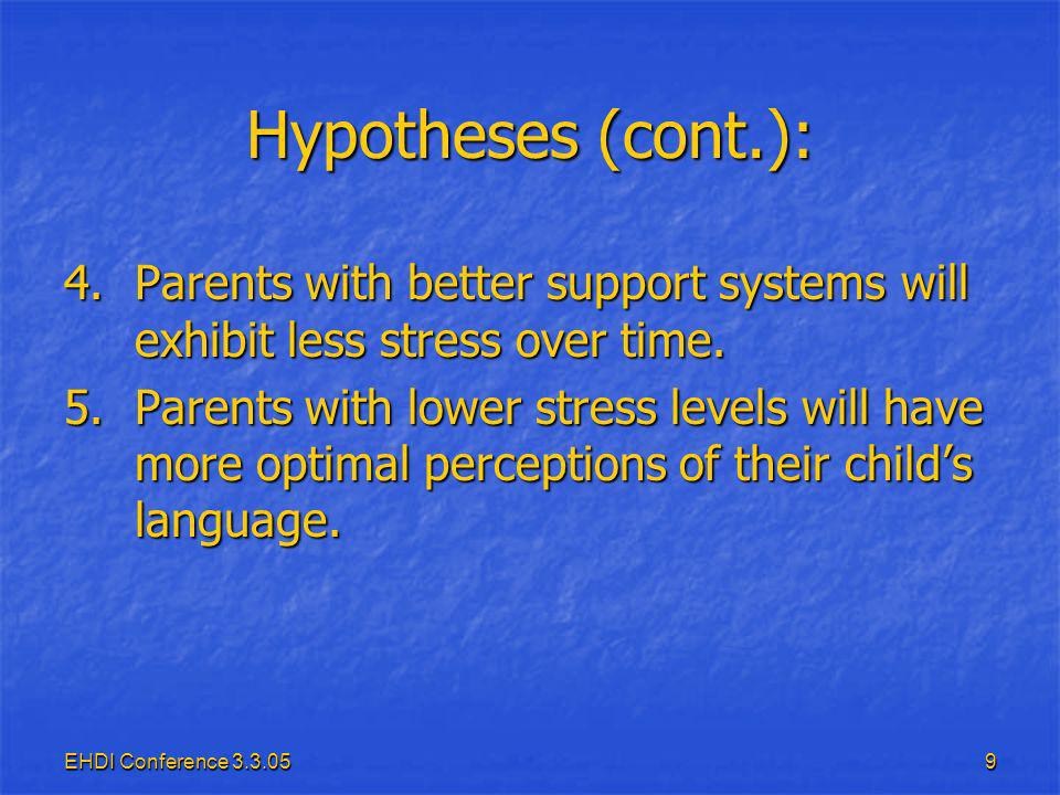 EHDI Conference Hypotheses (cont.): 4.Parents with better support systems will exhibit less stress over time.