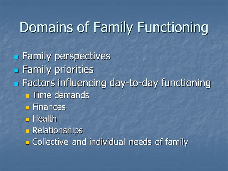 Domains of Family Functioning Family perspectives Family perspectives Family priorities Family priorities Factors influencing day-to-day functioning Factors influencing day-to-day functioning Time demands Time demands Finances Finances Health Health Relationships Relationships Collective and individual needs of family Collective and individual needs of family