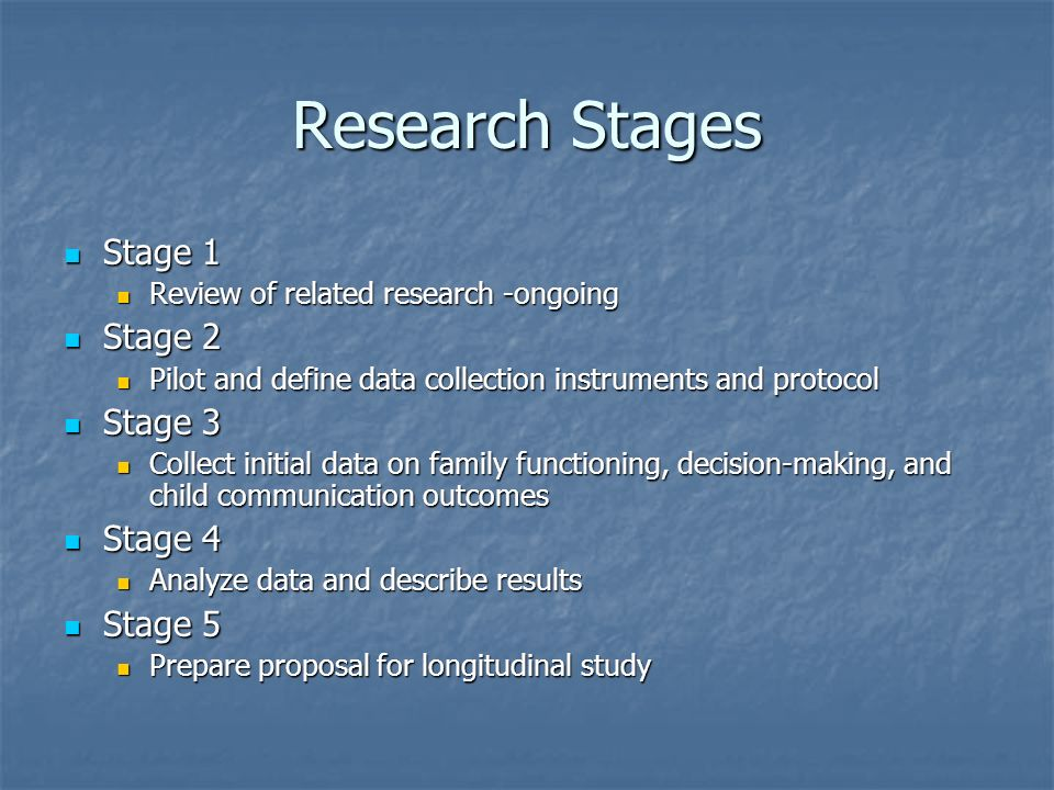 Research Stages Stage 1 Stage 1 Review of related research -ongoing Review of related research -ongoing Stage 2 Stage 2 Pilot and define data collection instruments and protocol Pilot and define data collection instruments and protocol Stage 3 Stage 3 Collect initial data on family functioning, decision-making, and child communication outcomes Collect initial data on family functioning, decision-making, and child communication outcomes Stage 4 Stage 4 Analyze data and describe results Analyze data and describe results Stage 5 Stage 5 Prepare proposal for longitudinal study Prepare proposal for longitudinal study