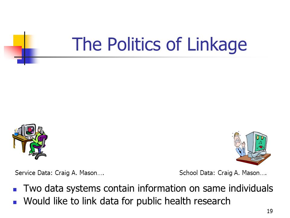 19 The Politics of Linkage Two data systems contain information on same individuals Would like to link data for public health research Service Data: C
