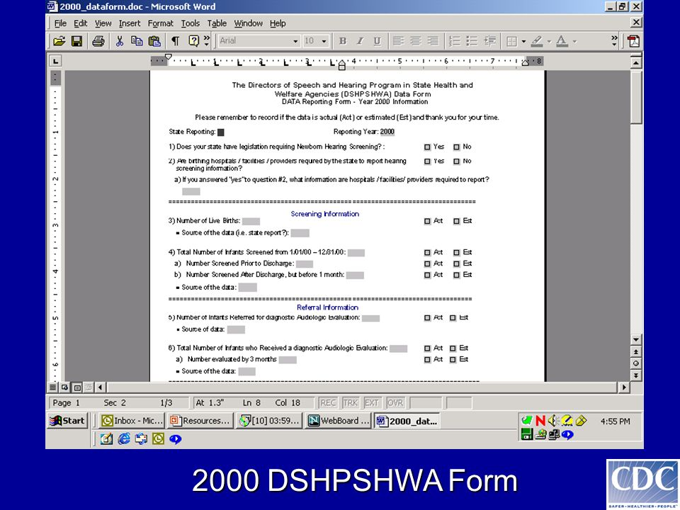 2000 DSHPSHWA Form