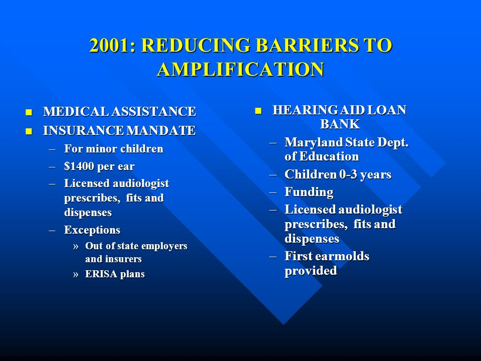 2001: REDUCING BARRIERS TO AMPLIFICATION MEDICAL ASSISTANCE MEDICAL ASSISTANCE INSURANCE MANDATE INSURANCE MANDATE –For minor children –$1400 per ear –Licensed audiologist prescribes, fits and dispenses –Exceptions »Out of state employers and insurers »ERISA plans HEARING AID LOAN BANK HEARING AID LOAN BANK –Maryland State Dept.